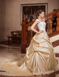 Ball-Gown Strapless Square Neckline Chapel Train Taffeta Wedding Dress With Ruffle Lace Beading (002012029)
