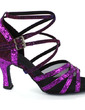 Women's Sparkling Glitter Heels Sandals Latin With Ankle Strap Dance Shoes (053022035)