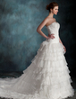 A-Line/Princess Sweetheart Cathedral Train Organza Wedding Dress With Beading Cascading Ruffles (002004767)