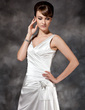 A-Line/Princess V-neck Court Train Charmeuse Wedding Dress With Ruffle Beading Sequins (002011434)