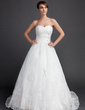 Ball-Gown Sweetheart Court Train Organza Wedding Dress With Ruffle Beading Appliques Lace Sequins (002015822)