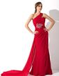 Syrena Jednoramienna Tren Watteau Chiffon Suknia dla Mamy Panny Młodej Z Żabot Perełki (008006239)