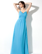 Empire V-neck Floor-Length Chiffon Bridesmaid Dress With Beading (007000913)