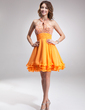 A-Line/Princess Halter Short/Mini Chiffon Homecoming Dress With Ruffle Beading (022010019)