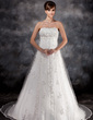 Empire Strapless Watteau Train Charmeuse Tulle Wedding Dress With Beading Appliques Lace (002016930)