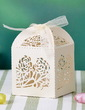 Floral Cut Out Cuboid Favor Boxes With Ribbons (Set of 12) (050032984)