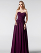 A-Line/Princess Sweetheart Floor-Length Chiffon Bridesmaid Dress With Ruffle Flower(s) (007005180)