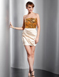 Sheath/Column Strapless Short/Mini Charmeuse Sequined Homecoming Dress With Ruffle (022014735)