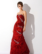 Trumpet/Mermaid Sweetheart Floor-Length Taffeta Lace Prom Dress With Beading (018005088)