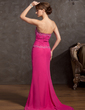 A-Line/Princess Sweetheart Sweep Train Chiffon Evening Dress With Ruffle Beading Appliques Lace (017014848)