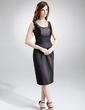 Sheath/Column Scoop Neck Knee-Length Charmeuse Mother of the Bride Dress With Beading (008003204)