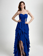A-Line/Princess Sweetheart Asymmetrical Chiffon Prom Dress With Beading Cascading Ruffles (018015859)