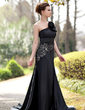 Trumpet/Mermaid One-Shoulder Court Train Charmeuse Evening Dress With Flower(s) Sequins (017022937)