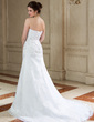 A-Line/Princess Sweetheart Court Train Organza Wedding Dress With Ruffle Beading Appliques Lace Sequins (002000148)