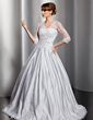 Ball-Gown V-neck Floor-Length Satin Wedding Dress With Lace Beading Sequins (002014755)
