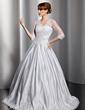 Balo Elbisesi V Yaka Uzun Etekli Satin Tulle Gelinlik Ile Lace Boncuklama Pullarda (002014755)
