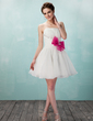 A-Line/Princess Sweetheart Short/Mini Organza Homecoming Dress With Ruffle Sash Beading Bow(s) (022010102)