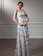 Trompete/Sereia Coração Longos Renda Vestido para a mãe da noiva com Bordado fecho de correr (008006002)