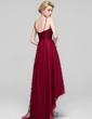 Forme Princesse Col V Asymétrique Tulle Robe de demoiselle d'honneur avec Plissé (007090206)