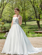 A-Line/Princess Strapless Court Train Organza Wedding Dress With Ruffle Beading (002004973)
