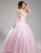 Ball-Gown Sweetheart Floor-Length Tulle Wedding Dress With Ruffle Beading Appliques Lace (002012706)