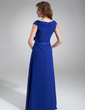 A-Line/Princess Off-the-Shoulder Floor-Length Chiffon Mother of the Bride Dress With Ruffle Beading Flower(s) (008006252)