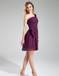 A-Line/Princess One-Shoulder Short/Mini Chiffon Cocktail Dress With Ruffle Sequins (016019715)