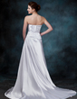 A-Line/Princess Strapless Sweep Train Charmeuse Wedding Dress With Ruffle (002012060)