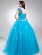 Ball-Gown One-Shoulder Floor-Length Tulle Quinceanera Dress With Beading Appliques Lace Flower(s) Sequins (021016037)