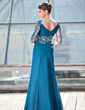A-Line/Princess V-neck Floor-Length Chiffon Mother of the Bride Dress With Ruffle Beading Flower(s) Split Front (008018712)
