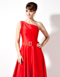 A-Line/Princess One-Shoulder Asymmetrical Charmeuse Prom Dress With Beading (018020778)