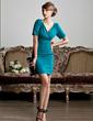 Wąska V-Dekolt Krótka/Mini Jersey Suknia dla Mamy Panny Młodej Z Żabot (008013810)