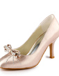 Women's Satin Stiletto Heel Closed Toe Pumps With Bowknot Rhinestone (047011042)