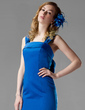 Trumpet/Mermaid Square Neckline Watteau Train Satin Bridesmaid Dress With Bow(s) (007000936)