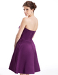 A-Line/Princess Sweetheart Knee-Length Satin Bridesmaid Dress With Cascading Ruffles (007026279)