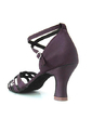 Women's Satin Heels Sandals Latin Wedding With Rhinestone Ankle Strap Dance Shoes (053016449)