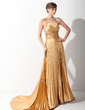 A-Line/Princess One-Shoulder Court Train Charmeuse Prom Dress With Appliques Lace Pleated (018015060)