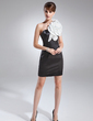 Sheath/Column One-Shoulder Short/Mini Charmeuse Cocktail Dress With Sash Flower(s) (016008553)