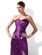A-Line/Princess Sweetheart Court Train Charmeuse Evening Dress With Ruffle Beading Split Front (017004174)