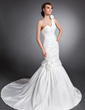 Trumpet/Mermaid Sweetheart One-Shoulder Court Train Taffeta Wedding Dress With Ruffle Flower(s) (002015132)