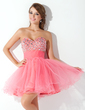 A-Line/Princess Sweetheart Short/Mini Tulle Homecoming Dress With Ruffle Beading (022009105)