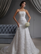A-Line/Princess Strapless Chapel Train Lace Wedding Dress (002022680)