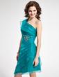 Çan/Prenses Tek-Omuzlu Asimetrik Organza Mezunlar Gecesi Elbisesi Ile Büzgü Boncuklama (022010313)