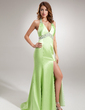 Trumpet/Mermaid Halter Sweep Train Charmeuse Evening Dress With Ruffle Beading Sequins Split Front (017005605)