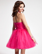 A-Line/Princess Halter Short/Mini Tulle Homecoming Dress With Ruffle Beading (022008144)