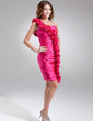 Sheath/Column One-Shoulder Knee-Length Charmeuse Cocktail Dress With Ruffle Flower(s) (016008873)