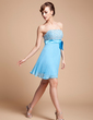 A-Line/Princess Strapless Short/Mini Chiffon Homecoming Dress With Beading Sequins Bow(s) Pleated (022002318)