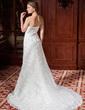 A-Line/Princess Sweetheart Court Train Chiffon Lace Wedding Dress With Ruffle Flower(s) (002024458)