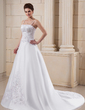 A-Line/Princess Chapel Train Satin Wedding Dress With Embroidered Beading (002006372)