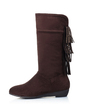 Suede Low Heel Mid-Calf Boots With Rhinestone Tassel shoes (088032992)